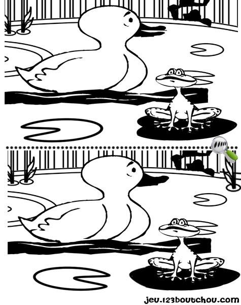 7 différences enfant fiche 7 différences animaux / canard