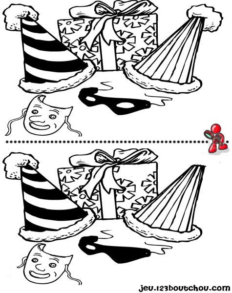 7 différences enfant fiche 7 différences fetes / carnaval