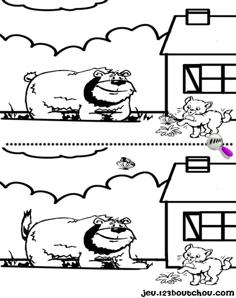 7 différences enfant fiche 7 différences animaux / chien