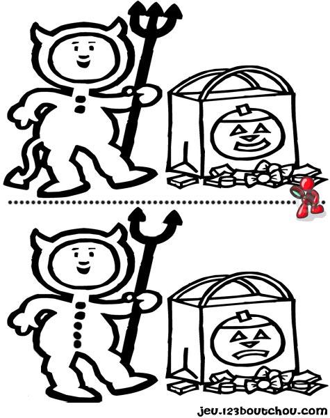 7 différences enfant fiche 7 différences monstres / halloween