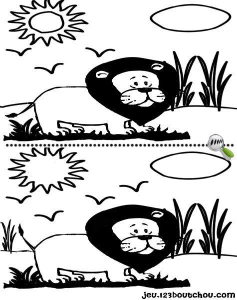 7 différences enfant fiche 7 différences animaux / lion