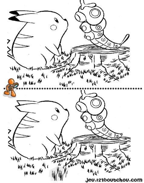 7 différences enfant fiche 7 différences heros / pokemon