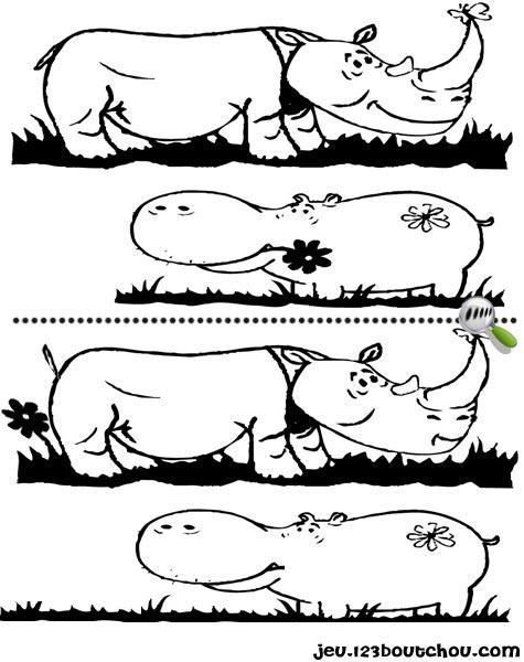 7 différences enfant fiche 7 différences animaux / rhinoceros