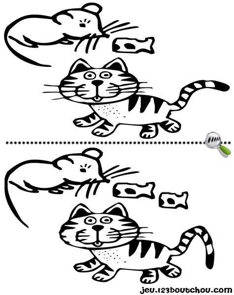 7 différences enfant fiche 7 différences animaux / souris
