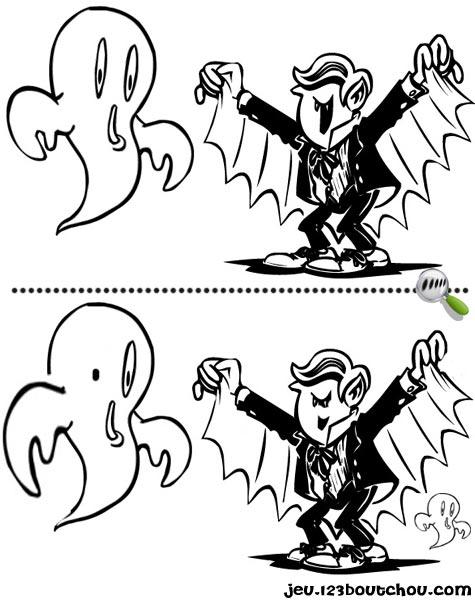 7 différences enfant fiche 7 différences monstres / vampire