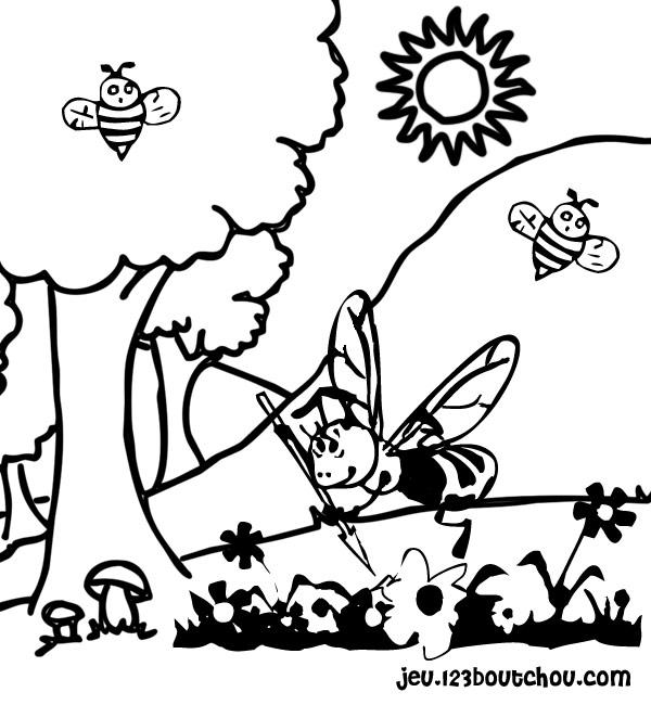 Coloriage Gratuit D Abeille.La Petite Abeille N En Revient Pas Pour Enfants A Imprimer