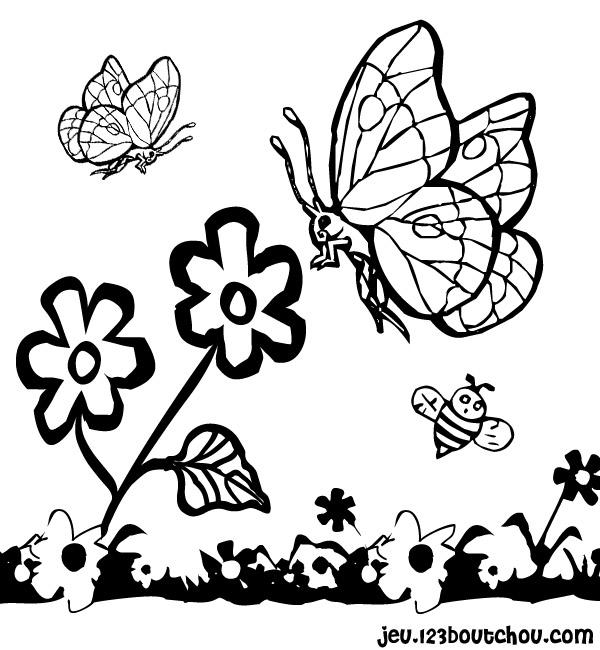 Le Dessin Fleur Papillon En Folie Pour Enfants A Imprimer Gratuitement Assistante Maternelle Biz