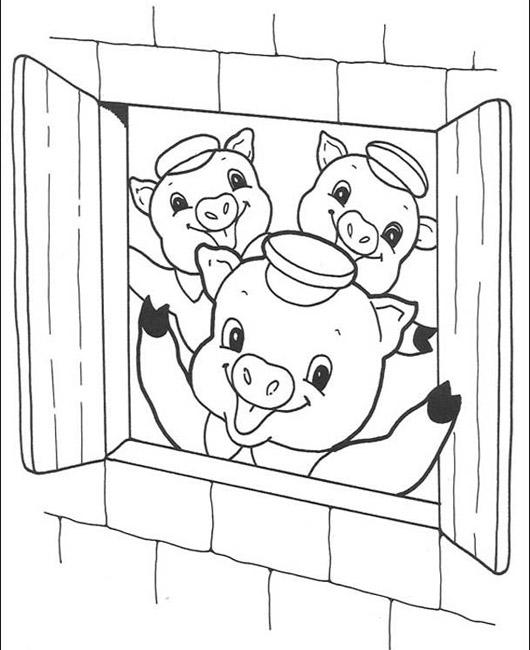 Boulou l 39 cole - Coloriage les trois petit cochons ...