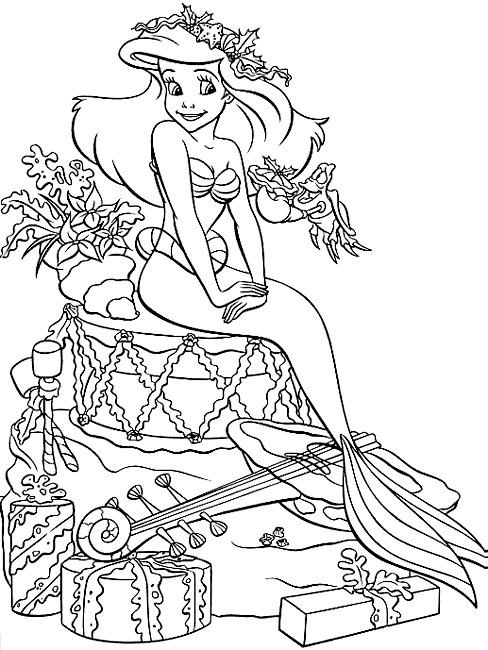Coloriage Petite Sirene Walt Disney Pour Enfants A Imprimer Gratuitement