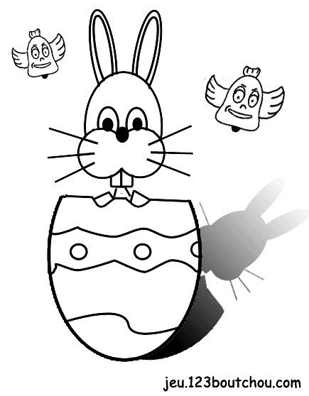 coloriage Coloriage enfant: Martin, le lapin de paques à imprimer