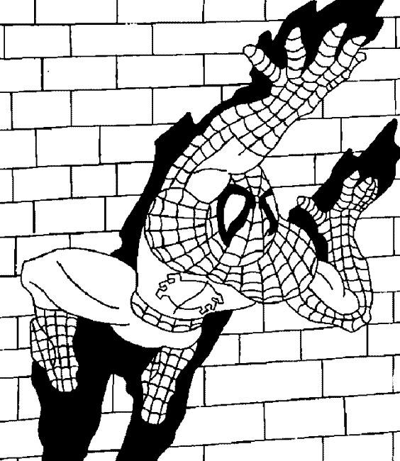 Coloriage spiderman accroupi car interior design - Dessin spider man ...