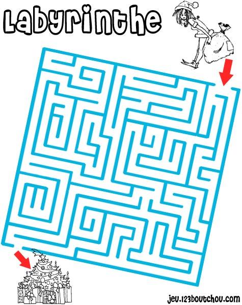 Labyrinthe g ant de noel - Jeu labyrinthe a imprimer ...